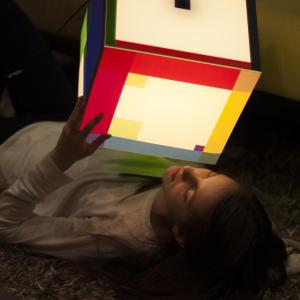 Another way of enjoying our colorful light cube lamp on the floor