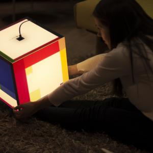 This light cube mood lamp shines the colors and will soften up any heart out there