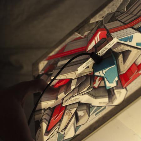 Light cube lamp design with a stunning graffiti artwork