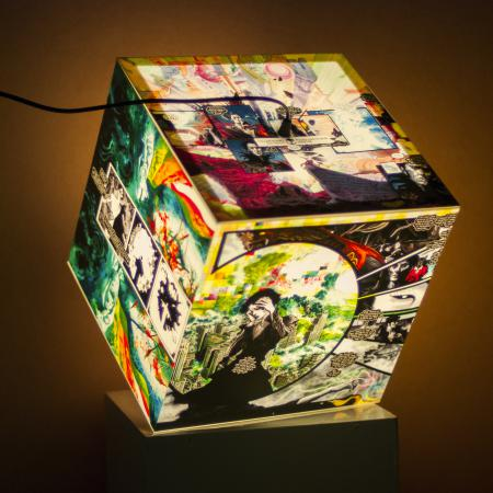 Custom light cube with a colorful comics theme on each side