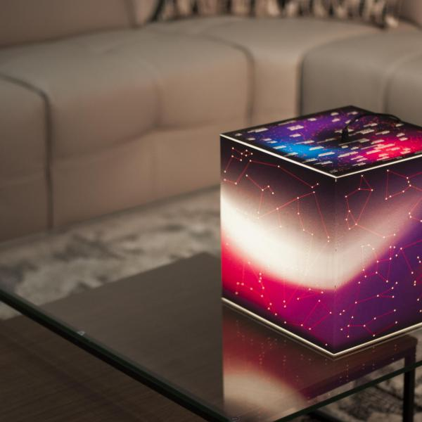 A magnificent light cube lamp with stars on each side. Children can learn night sky using it