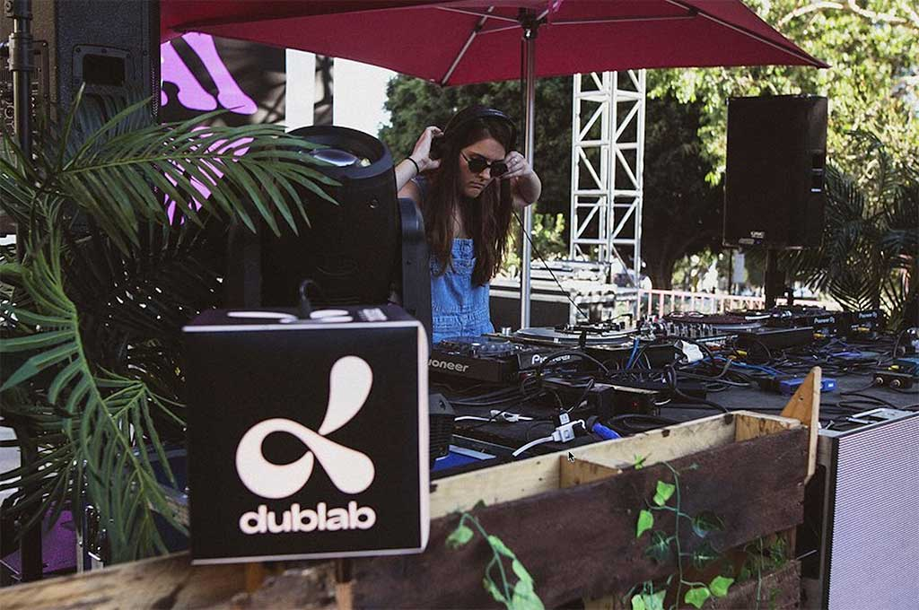 Dublab custom DJ light sitting on DJ table