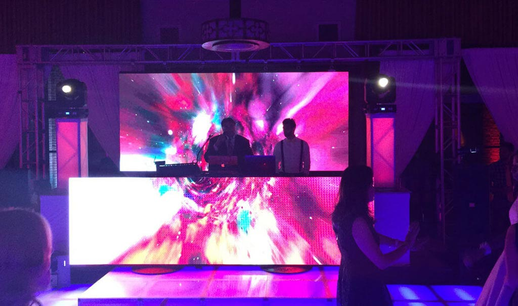 DJs with LED Displays in a party
