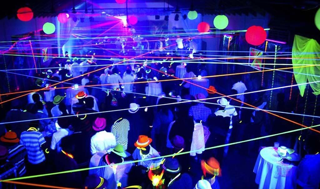 Nightclub party with UV DJ Lights