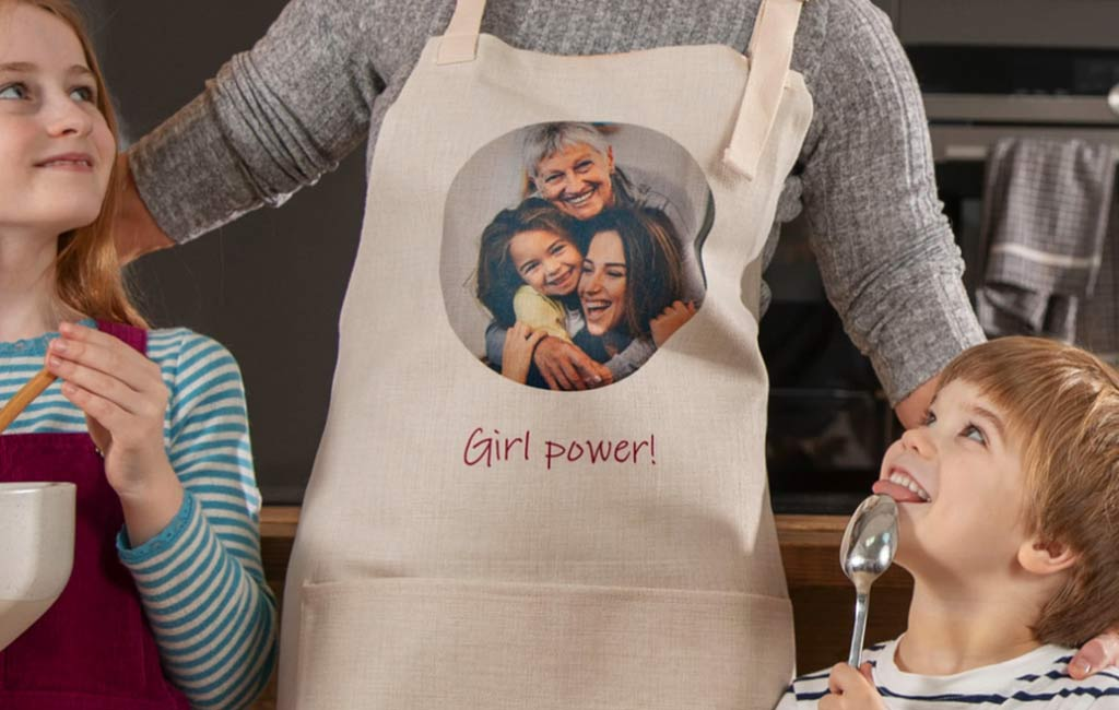 Apron with a custom photo and text
