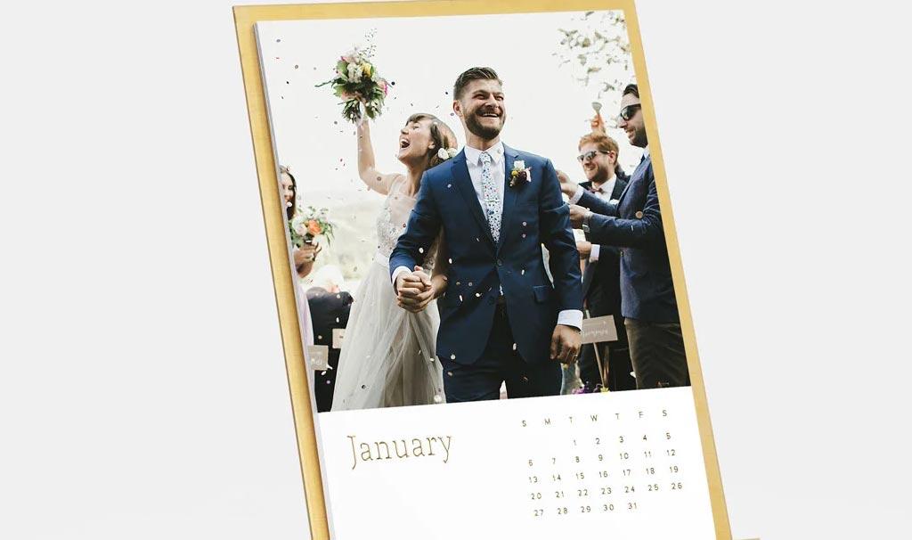 Custom calendar as a wedding gift