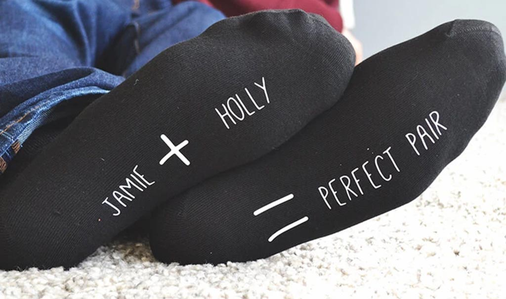 Personalized socks with married couple's names